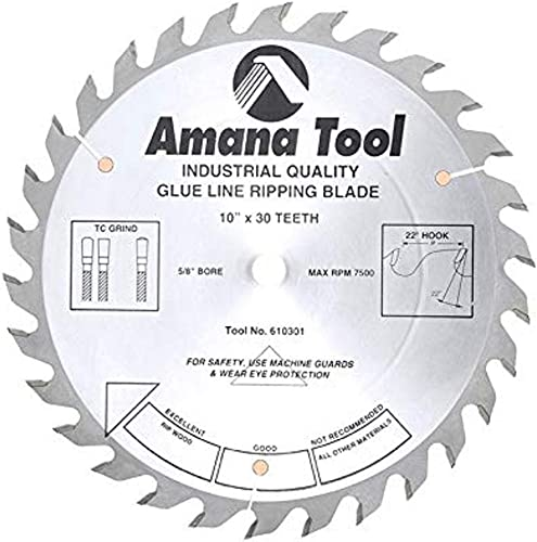 """discount Amana Tool - 610301 Carbide high quality Tipped Glue Line Ripping 10"""" Dia x 30T Tcg, 22 Deg, new arrival 5/8 BO online"""