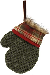 A & B Floral Mitten Knit Red Plaid and Grey 7 inch Faux Fur Fabric Christmas Hanging Figurine Ornament