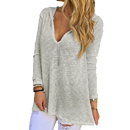 0ba583805f01 Dokotoo Womens Hooded V-Neck Long Sleeve Loose Knitted Sweater Top Medium  Grey