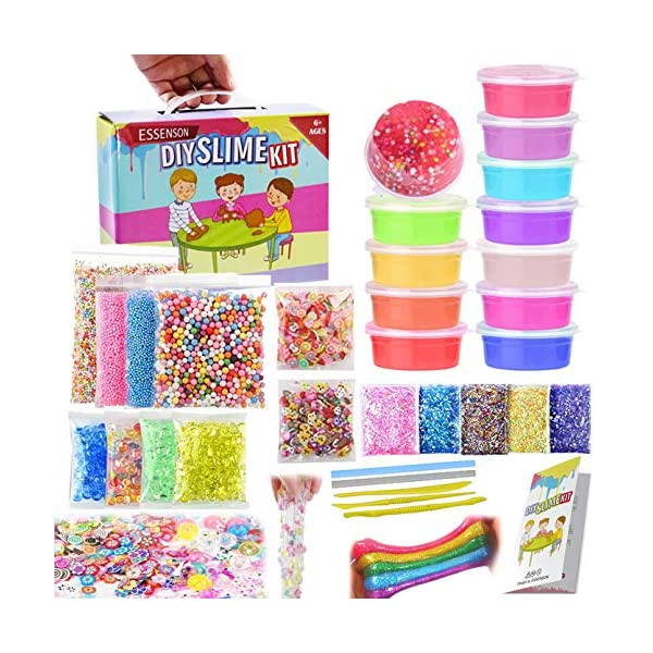 Slime Kit - Slime Supplies Slime Making Kit for Girls Boys, Kids Art Craft, Crystal Clear Slime, Glitter, Unicorn Slime Charms, Fruit Slices, Fishbowl Beads Girls Toys Gifts for Kids Age 6+ Year Old 9