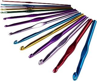Pulbo Lot de 14 crochets en métal pour crochet et aiguilles à tricoter