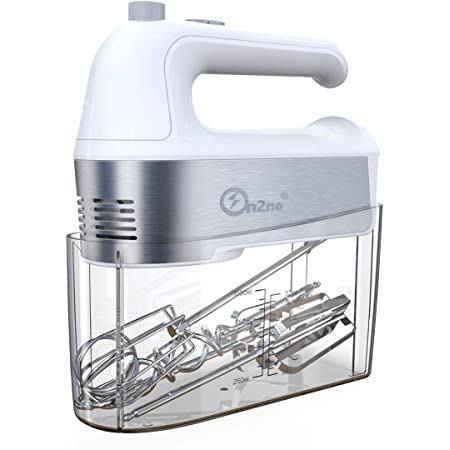 ON2NO Hand Mixer Electric, 450W Power Handheld Mixer with Turbo, Eject Button, 5-Speed Egg Beater Mixing for Dough, Egg, Cake, 5 Accessories (Whisk, Beaters, Dough Hooks) in Measuring Storage Case