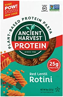 Ancient Harvest Gluten Free Plant-Based High Protein Vegan Pasta, Red Lentil and Quinoa Rotini, 8 Ounce (Pack of 6)