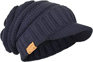 Mens Slouch Beanie Vintage Knit Cadet Cabbie Skull Cap with Visor B319