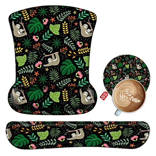 Keyboard Wrist Rest Pad and Mouse Pad Wrist Support Set with Coaster, Ergonomic Mouse pad with Memory Foam Wrist Cushion & Non Slip Base for Computer, Laptop,Gaming,Office- Sloth Monther and Baby