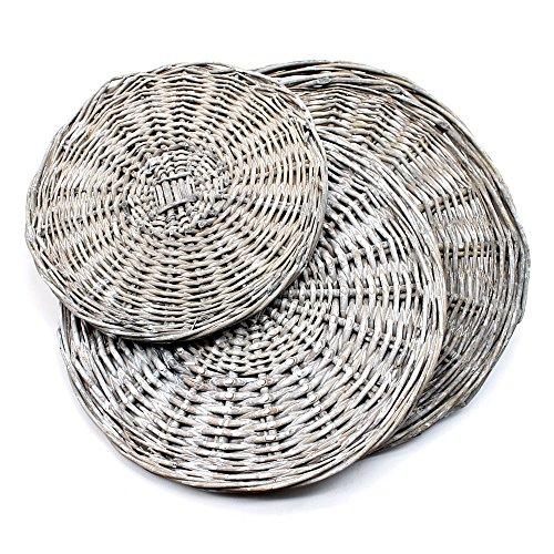 Plato de mimbre teñido 20 cm / 25 cm / 30 cm / 35 cm, platos, mimbre, gris, 1x 30cm