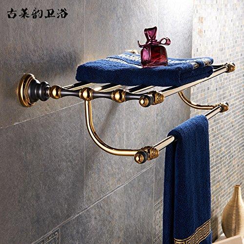 Redhj suspensión de la Torre Baño de Cobre Europeo Conjunto Negro Oro Viejo toallero Estante toallero baño de Estilo Americano, toallero