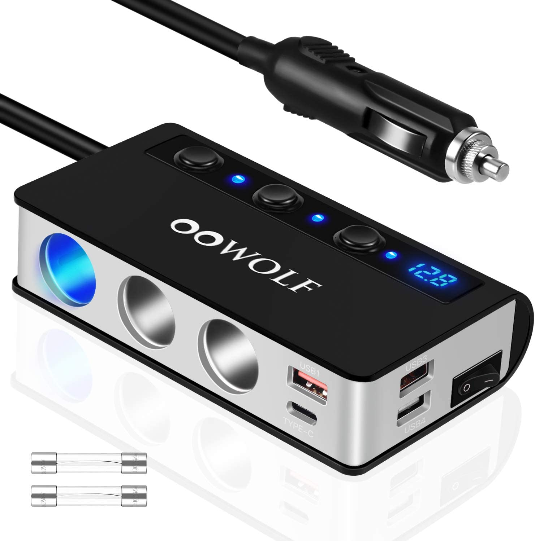 OOWOLF QC 3.0 Adaptador De Encendedor De Cigarrillos, 180W DC 12V/24V Adaptador de Mechero con 3 Puertos USB y Adaptador, 1 Puerto Tipo C, Cargador De Coche para iPhone 12,11, GPS, Dash CAM, Sat Nav