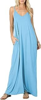 Women's Summer Casual Plain Flowy Pockets Loose Beach Cami Maxi Dresses