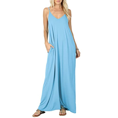 7726e3a18517f Iandroiy Women's Summer Casual Plain Flowy Swimwear Cover Up Loose Beach  Cami Maxi Dresses with Pockets