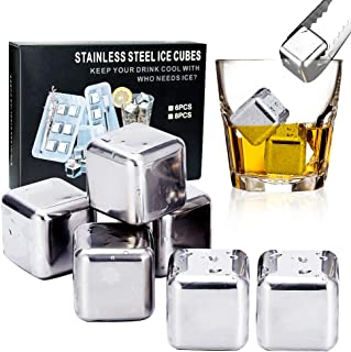 Quick Frozen Whiskey Stones and Bartending Reusable ice cubes Stainless Steel Whiskey Stones about Gift for whiskey, liqueurs, white wine ,vodka,and more drink. (Pack of 8)