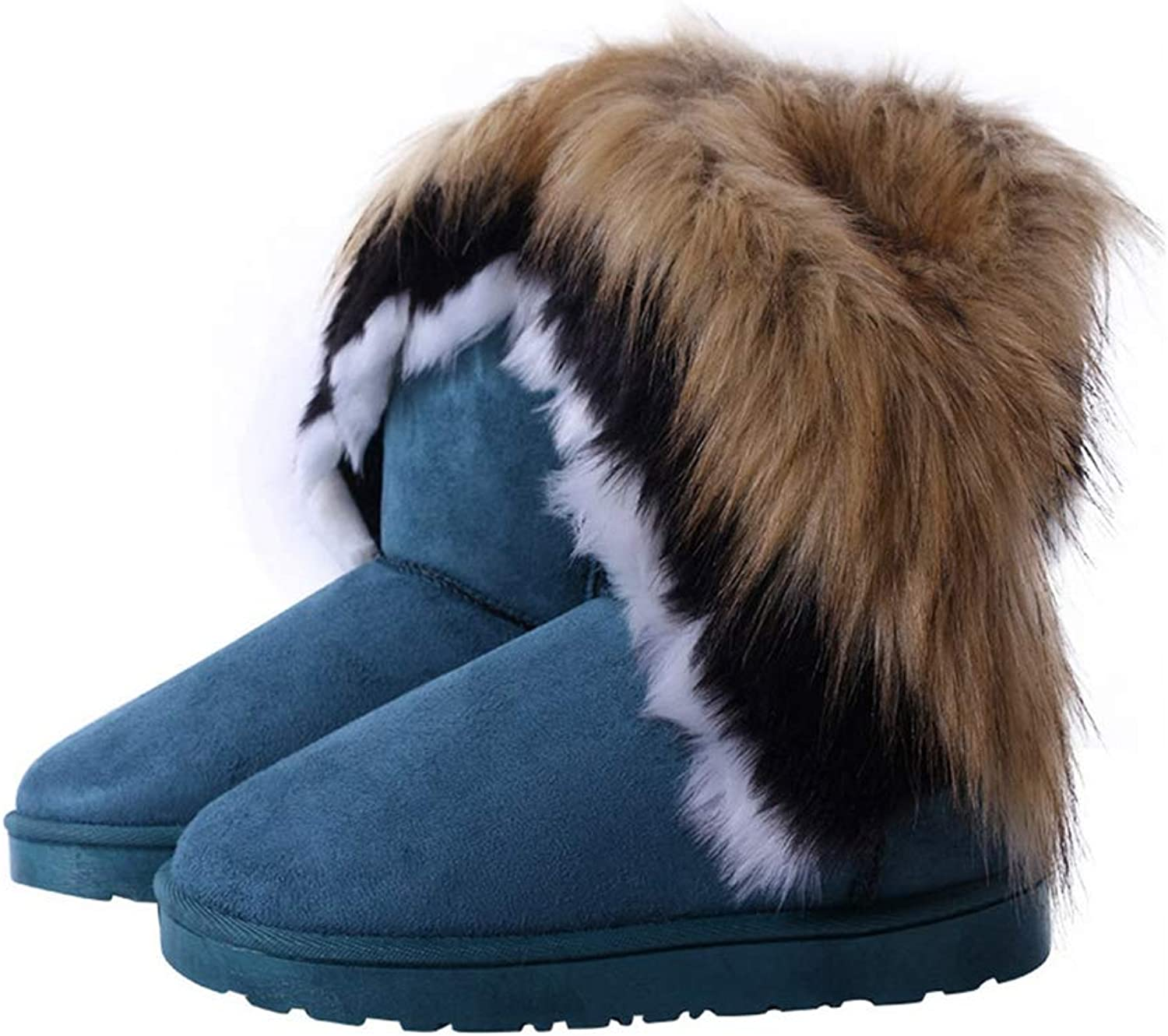 T-JULY Women's Snow Boots Faux Fur Warm Flat shoes Tassels Edging Footwear Female Winter Sewing Mid Calf shoes