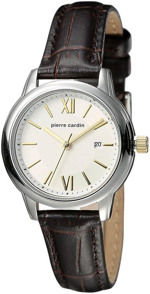 Pierre cardin, orologio da polso da uomo, analogico, al quarzo,cinturino in pelle e cassa in acciaio PC901852F02