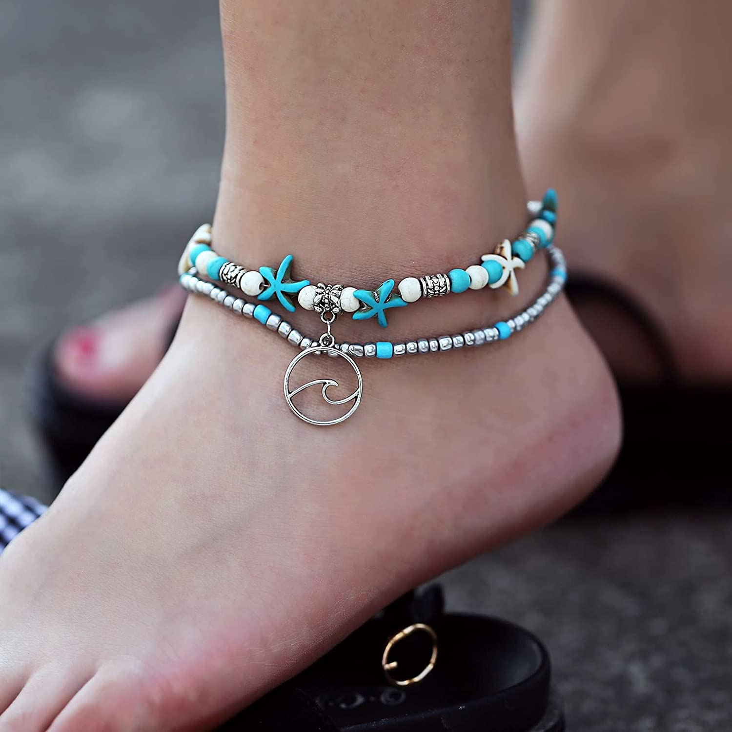 Blue Starfish Turtle Limited time sale Anklet Multilayer Charm Sea Long-awaited Beads Handmade