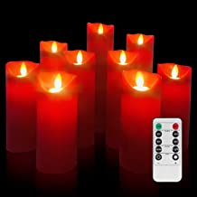 Evenice Flameless Candles Battery Operated Candles Flickering Light Pillar Real Smooth Wax with Timer and 10-Key Remote for Wedding Set of 9