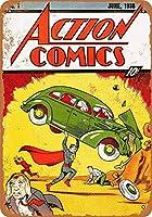 アクションコミック#1金属のレトロな壁の装飾ティンサインバー、カフェ、家の装飾