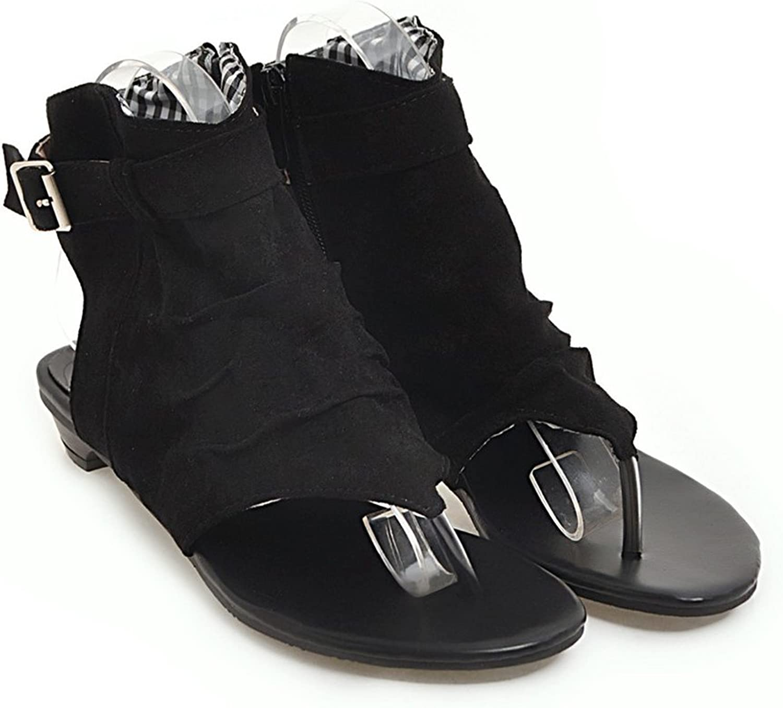 Roman Style Sandal Heudauo Slipper Sandal Toepost Fashion Creative Buckle for Women (color   Black, Size   41)