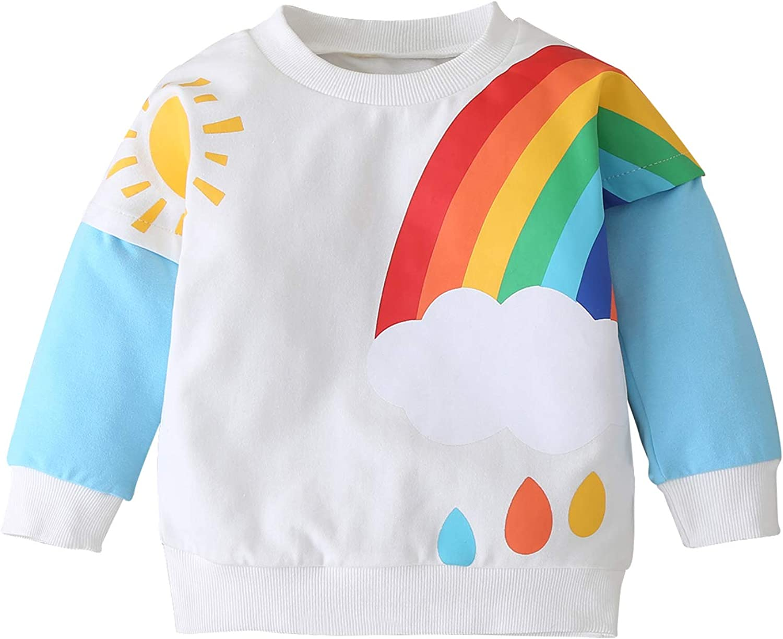 YHLZBNH Baby Unisex Pullover Sweatshirt Kids Toddler Warm Patchwork Casual Cotton Rainbow T-Shirt Fall Winter Tops