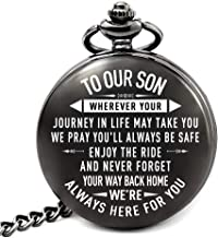 Son Gifts from Mom and Dad for Wedding, Son Birthday Gifts Ideas, Fathers Day Gifts for Son, Christmas Gifts for Teen Boys, Engraved Pocket Watch for Son (Back Home)