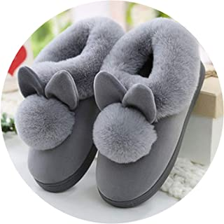 Rabbit Ears Soft Home Slippers Cotton Warm Winter Women Slippers Casual Indoor Slippers in 3 Colors