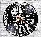 QERTYU Barber Shop Sign Silent Haircutting Reloj de Pared Peluquería Salón de Belleza Diseño Vinyl Record Clock Reloj Barber Shop Wall Decor