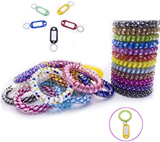 30Pack Mix Color Plastic Coil Stretch Wristband Elastic Stretchable Spiral Bracelet Key Ring/Key Chain/Key Hook/Key Holder for Gym, Pool, ID Badge and Pet Luggage Bag.