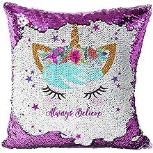N/AA Olywee - Funda de cojín con diseño de unicornio, diseño de sirena, reversible, doble color, 40 x 40 cm, decoración de sofá