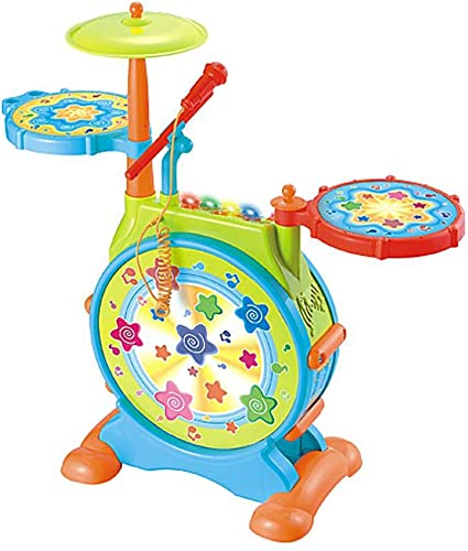LIUFS-Trommel Jazz-Trommel-Größes mädchen trommelt elektronische Trommel-frühe Ausbildungs-Musik-Spielzeug-Musikinstrument-Jungen-Puzzlespiel (Farbe   Bunte)