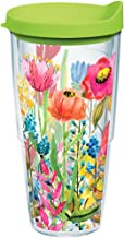 Tervis 1208404 Watercolor Wildflowers Tumbler with Wrap and Lime Green Lid 24oz, Clear