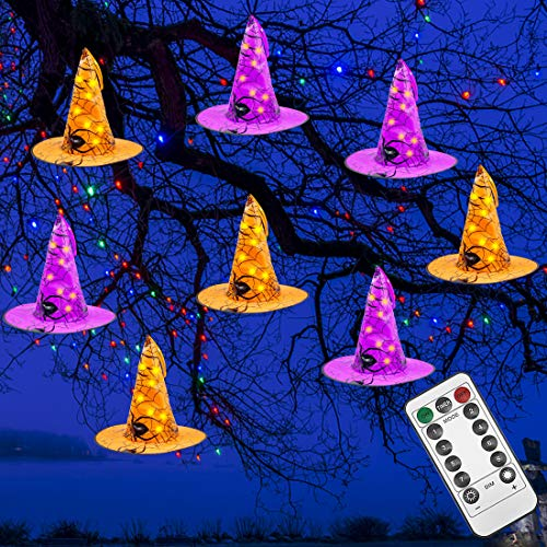 Brwoynn Halloween Decorations Witch Hat, 8 Pcs Hanging Lighted Glowing Witch Hat Decorations, Halloween Lights String with 8 Lighting Modes, Halloween Party Indoor Outdoor Yard Tree Decorations