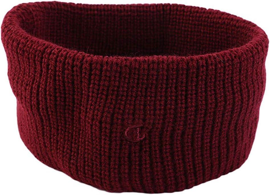WDXG Women Winter Knitted Wool Headband Ear Warmer Hairband Handmade Crochet Head Wraps for Girl(Wine red)