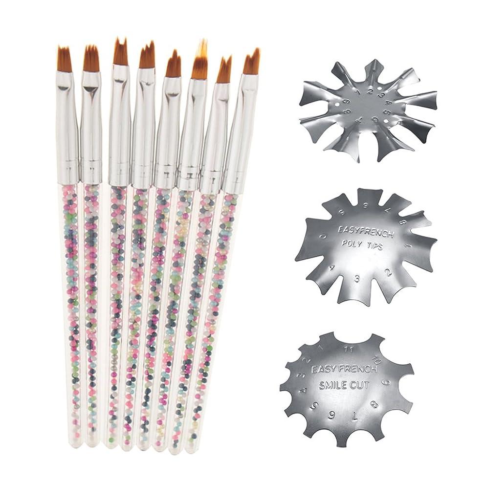 局レンズ入力Perfeclan ネイルブラシ マニキュアブラシ ネイルガイド ペン ステンレス鋼 ネイルアート アクセサリー