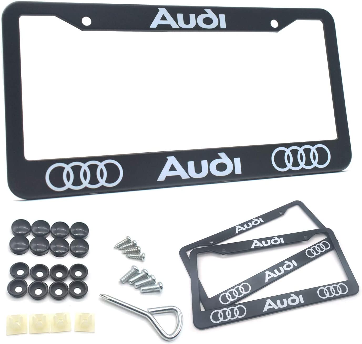 2 Pack License Plate Frames for Audi Stainless Steel Front and Back Bumper Car Plate Tag Bracket Holders with Secure Screws Fit for Audi S Line S3 S4 S5 S6 S7 S8 A1 A3 A4 A5 A6 A7 A8 Q3 Q5 Q7 R8 TT