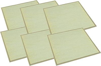 大島屋(Ooshimaya) 畳 ナチュラル 約70×70×1.5cm イ草 ふんわりユニット畳 椿 ナチュラル 6枚セット 6枚入