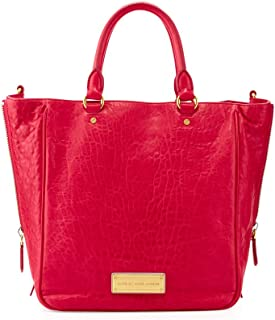 Washed Up Leather Tote, Raspberries