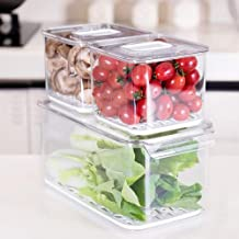 iPEGTOP Fridge Produce Saver Food Storage Bin Containers, Stackable Refrigerator Freezer Organizer Fresh Keeper Container ...