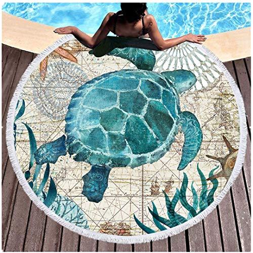 Blau Unterwasser Welt Rundes Strandtuch Badetuch Quaste 60 Zoll Decke Seestern Seetang Hai Schildkröte Tintenfisch Seepferdchen Teppich Tapisserie Wickelrock Saunatuch (Schildkröte)
