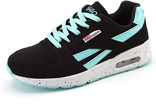 paniers Femme Mode Chaussure Basse Outdoor Plat Rond Chaussure Air Sport Course Fitness Gym paniers Noir Turquoise 36