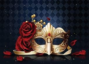 WOLADA 7x5ft Masquerade Mask Photo Backdrop Rose Flower Golden Mask Framed Mask Photography Backdrops Dark Retro Rhombus Marble Wall Background Girl and Boy Party Decoration Children Backdrops 11455