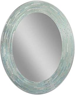 Headwest Reeded Sea Glass Oval Wall Mirror, 29 inches by 23 inches, 29