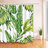Aitsite 2019 Newest Shower Curtain with Hooks, Waterproof Mould Proof Resistant Bathroom Curtain Washable Bath Curtain Polyester Fabric with 12 Hooks 180x180cm (Banana)