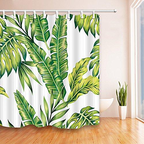 Aitsite Duschvorhang Anti-Schimmel Wasserdicht Formbeständig Bad Vorhang Waschbar Bad Vorhänge Polyester Stoff mit 12 Haken 180x180 cm Grünes Bananenblatt
