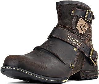 Bottes Chukka à la Mode pour Hommes avec Fermeture Eclair Bottes de Moto en Cuir véritable Bottines Montantes Chaussures d...