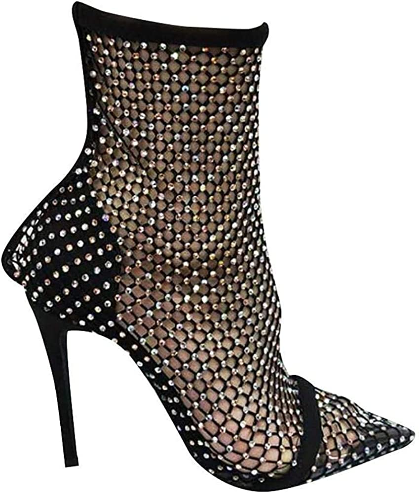 Cape Robbin Florence Stiletto High Heels for Women, Rhinestone Sparkle Fishnets