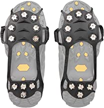 BelleLibre Ice & Snow Walk Traction Cleats,Anti-Slip 10 Stainless Steel Spikes Durable Silicone Crampons, for Walking, Hiking, Fishing, Climbing, Jogging, Mountaineering (S/M/L/XL)