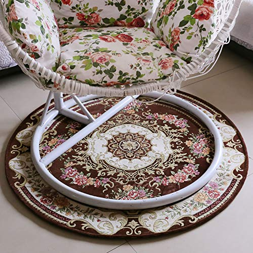 D&LE European Traditional Round Area Rug, Oriental Floral Carpet Easy Clean For Bedroom Living Room Computer Chair Rug-browna Diameter 90cm(35inch)