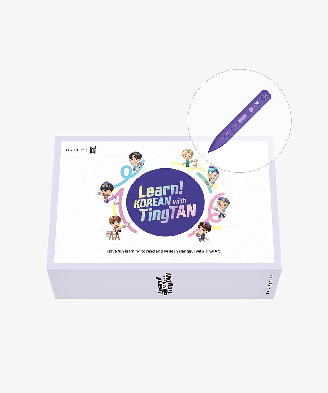 Aprender coreano con BTS Tinytan (incluye libro, libro de trabajo, Motipen, Hangeul Flash Card Pack, Hangeul Poster, cinta adhesiva, paquete de pegatinas)