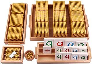 Montessori Mathematics Math Teaching Aids Decimal System Bank Game,Wood Golden Beaded Decimal Bank toy