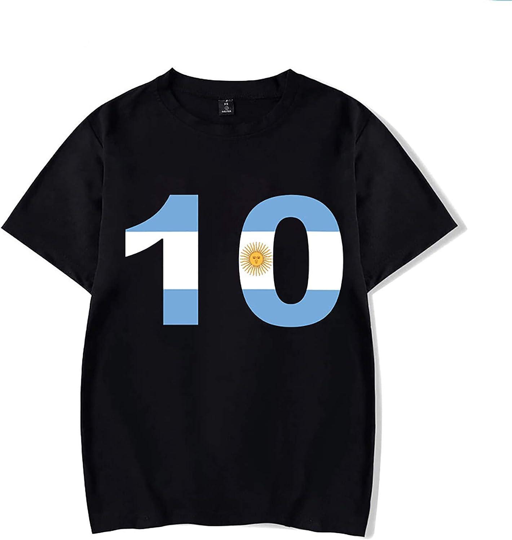 HUSTLE Diego Maradona Homme T-Shirt Manches Courtes Graphic Tshirt Comm/émoration du Roi du Football Cadeaux pour Les Fans,E,S