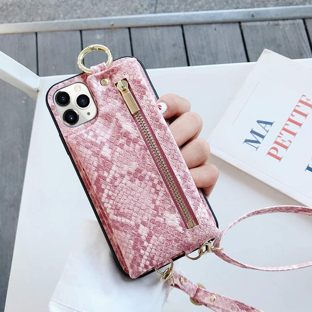 LUVI for iPhone 11 Pro Wallet Case with Crossbody Neck Strap Lanyard Purse Handbag Shoulder Strap Cover with Snake Skin PU Leather Pocket Credit ID Card Holder Case for iPhone 11 Pro Pink